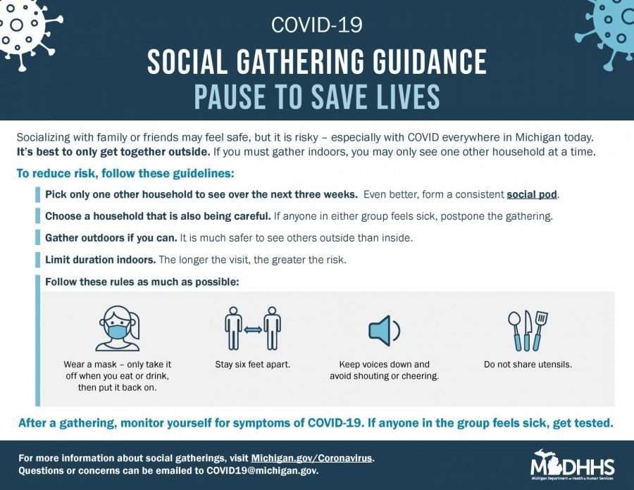 graphic by state of michigan telling people about what to do for gatherings