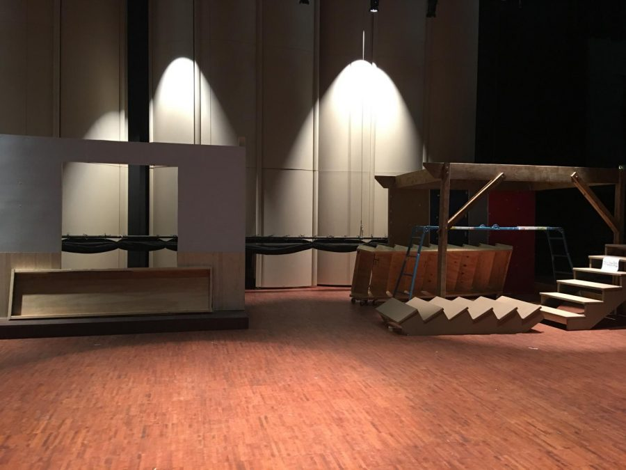 ELHS' stage with set pieces of