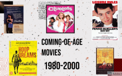 A collection of movie posters including Clueless, Heathers and Dead Poets Society. Text says