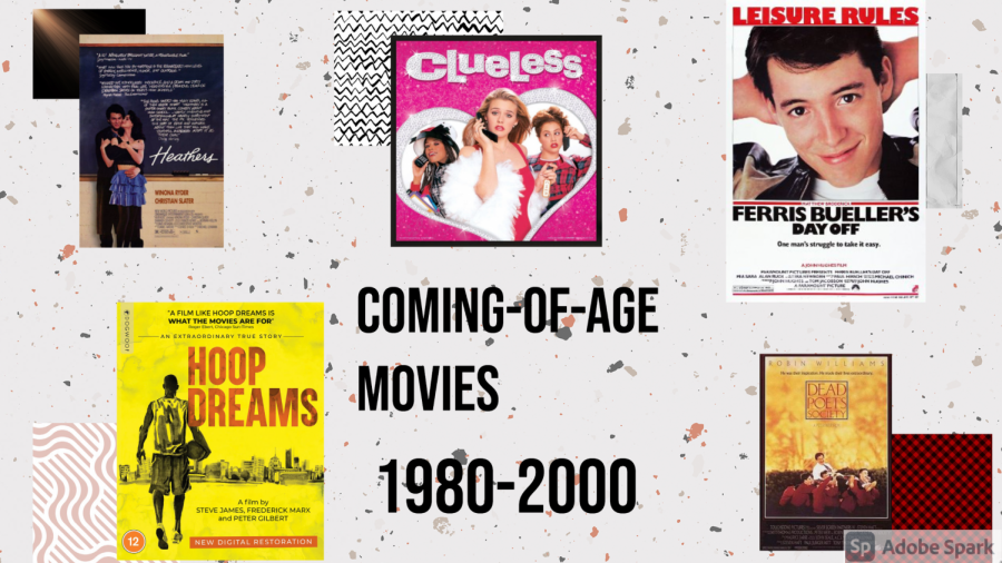 "A collection of movie posters including Clueless, Heathers and Dead Poets Society. Text says ""Coming of age movies, 1980 to 2000)"