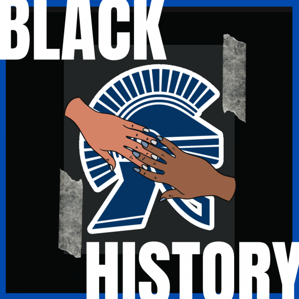 Black History at ELHS. A graphic of two hands holding each other over ELHS' banner. The text