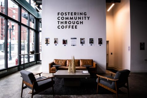 A photo of the inside of Foster Coffee. On the wall, it