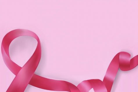 Breast cancer awareness pink ribbon illustration.