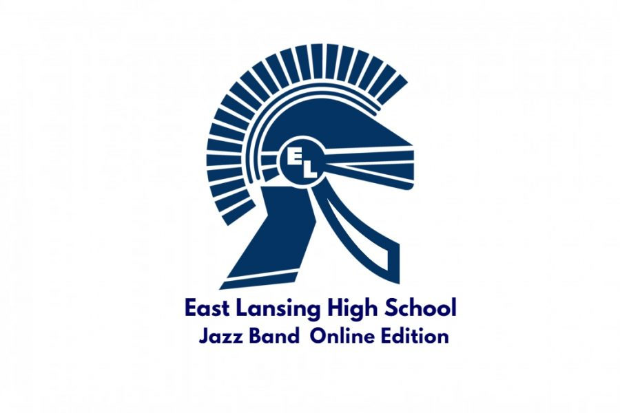 Shows Trojan logo with text under announcing East Lansing High School Jazz band
