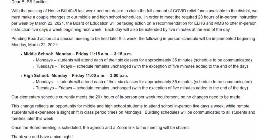 Email sent out to parents by Superintendent Dori Leyko. It contained details about proposed schedule changes that are now passed. It didnt, however, mention any info about the alteration of office hours.