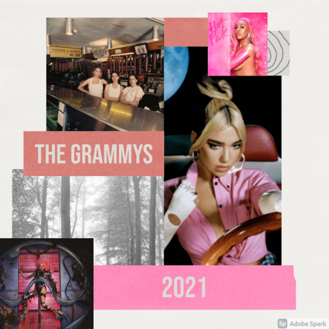From left to right: Chromatica by Lady Gaga, Folklore by Taylor Swift, Women in Music 3 by Haim, Hot Pink by Doja Cat and Future Nostalgia by Dua Lipa. Graphic by Gretchen Rojewski