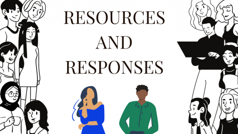 "A graphic stating: ""Resources and Responses"". It shows two cartoon people talking to each other."