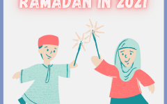Graphic of two muslim children holding sparklers. Text says