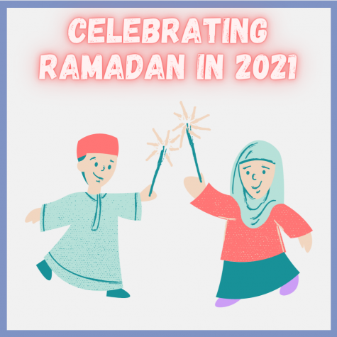 """Graphic of two muslim children holding sparklers. Text says """"celebrating ramadan""""."""