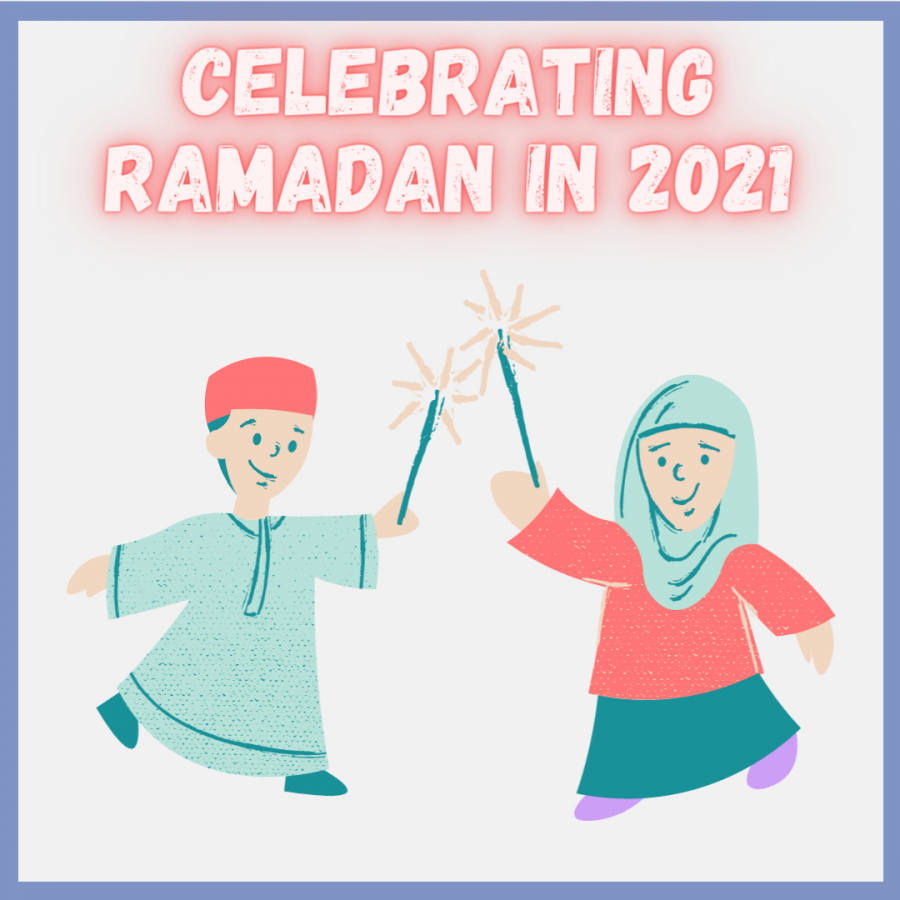 Graphic of two muslim children holding sparklers. Text says celebrating ramadan.