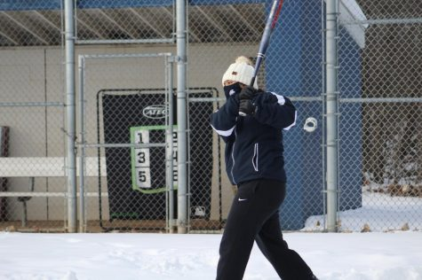 Kayelyn Keyton practicing hitting during softball practice on Feb 11.