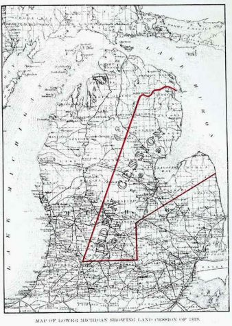 Map of the 1819 Treaty of Saginaw cession. We live on land traditionally owned by the Anishinabeg.