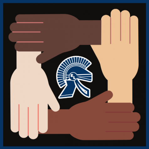 hands of different skin colors around trojan head