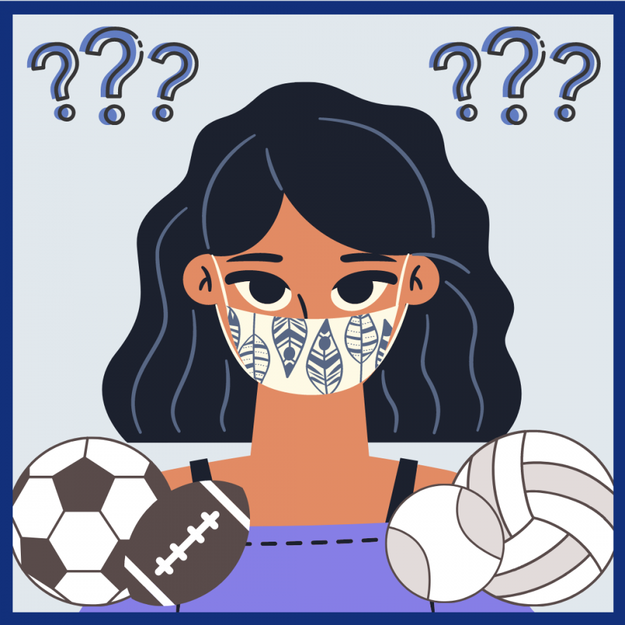 Graphic of student wearing mask with many sports balls around them.