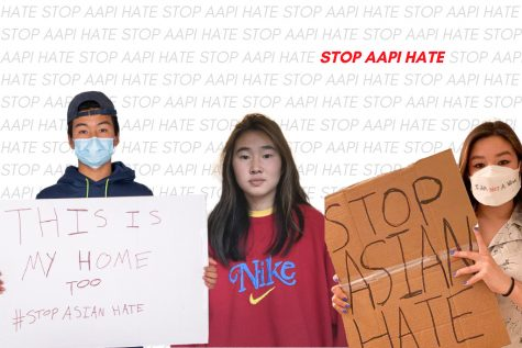 """Three students posing with """"Stop AAPI Hate"""" phrase filling the background."""