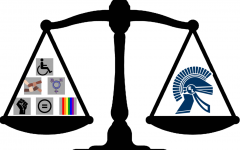 scale with trojan head on one side and equity symbols on the other
